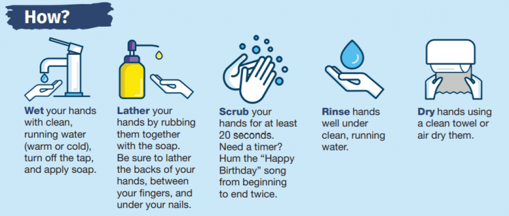 Image describes the steps of proper handwashing: wet hands with clean water; apply soap; lather hands by rubbing them together (palms, backs of hands, between fingers, and under nails); scrub hands for at least 20 seconds; rinse hands under clean, running water; and air-dry hands or use a clean towel. Image from CDC.