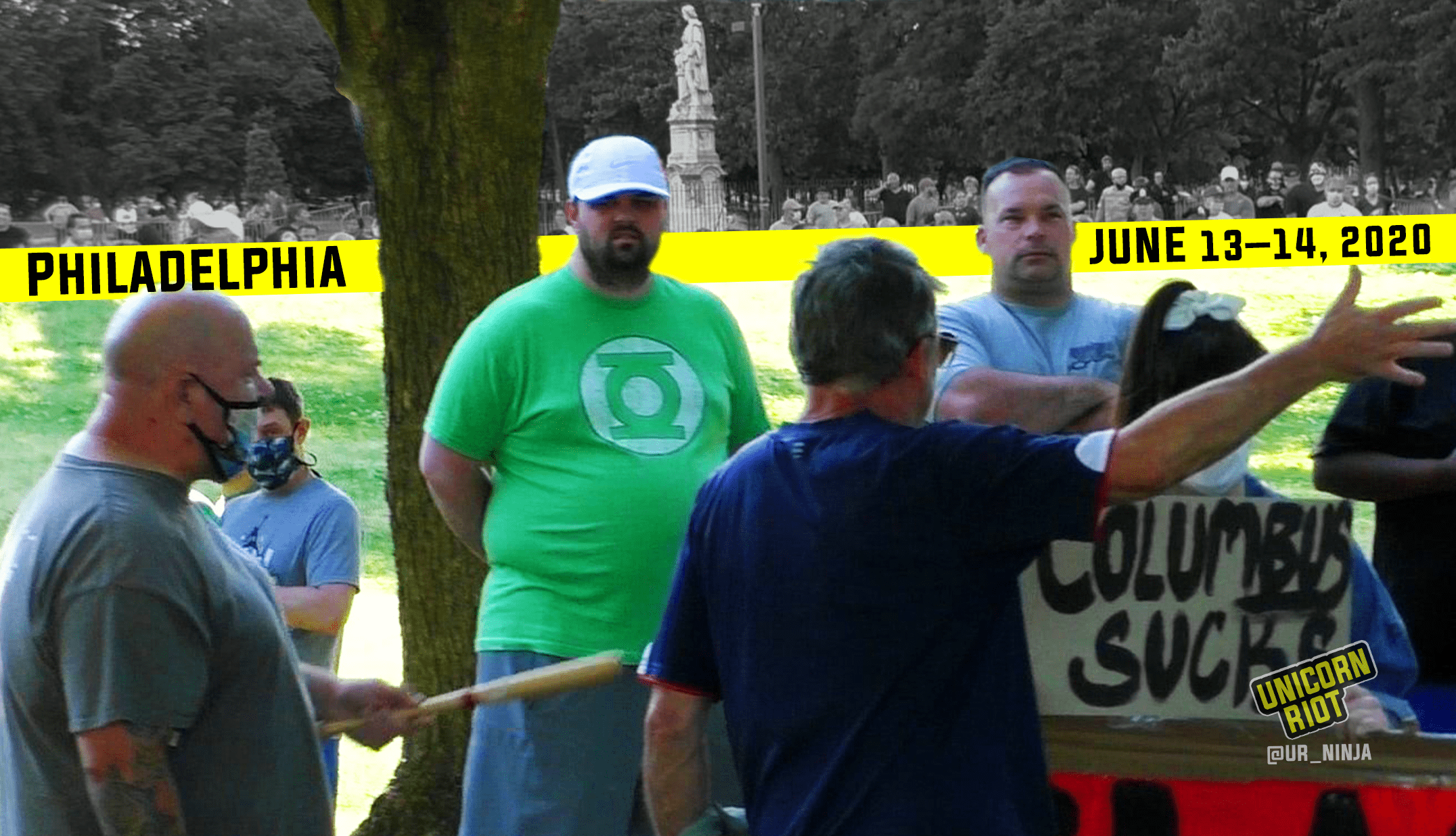 """image: South Philly residents confront anti-racist community members, one of whom has a sign """"Fuck Columbus."""" A man is gesturing at her with a bat. Above the scene is a yellow bar with date & location, Philadelphia, June 13 - 14, 2020. In the background as a composite, a crowd is gathered around the Columbus statue in Marconi Plaza in South Philly."""