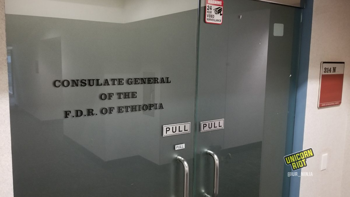 Doors of the Ethiopian Consulate in Saint Paul – youth continue an outside occupation of the building (Photo taken August 6, 2020)