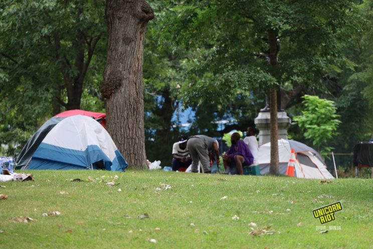 Tents in Loring Park make up the unhoused sanctuary community