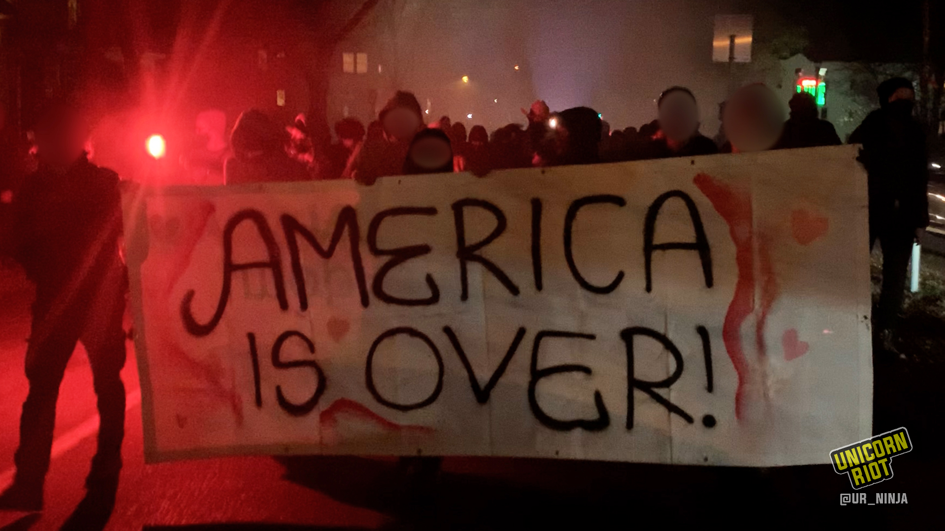 America is Over! banner led mobile dance party